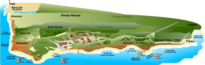 Mapa turístico de Pipa